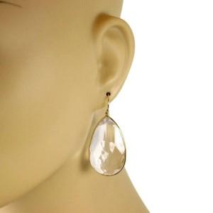 Ippolita Clear Quartz 18k Yellow Gold Large Pear Shape Hook Dangle Earrings