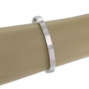 Cartier Love 10 Diamonds 18k White Gold Bangle Size 19 Screwdriver Paper Box