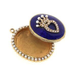 Victorian 15k Yellow Gold Seed Pearls Guilloche Enamel Oval Locket Pendant