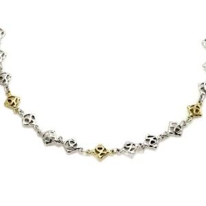 David Yurman Sterling Silver 18k Yellow Gold All Around Logo Link Necklace