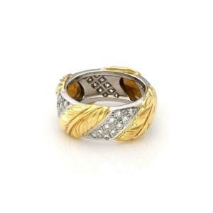 Tiffany & Co. Diamond Platinum 18k Yellow Gold 8.5mm Leaf Band Ring Size 6