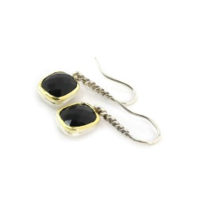 David Yurman Onyx Sterling Silver 18k Yellow Gold Dangle Earrings