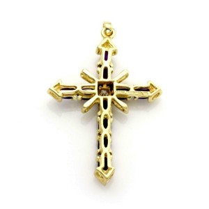 Tiffany & Co. Vintage 4.15ct Amethyst & Diamond 18k YGold Cross Pendant