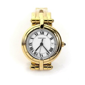 Cartier Panthere Round 18k Yellow Gold Date Sapphire Crystal Wrist Watch Quartz
