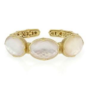 Judith Ripka Mother of Pearl Clear Quartz 18k Yellow Gold Cuff Bracelet