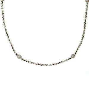 David Yurman 1.00ct Pave Diamond Sterling Silver 4 Ball Station Necklace