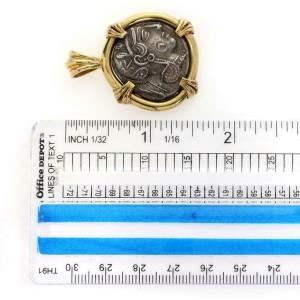 Vintage 18k Yellow Gold Silver Greek Goddess of Wisdom & Owl Coin Pendant