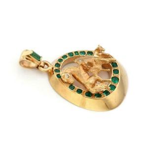 Vintage 6.30ct Emerald & Diamond 3D Fancy 18k Yellow Gold Horse Pendant