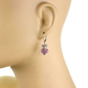 "Queen Baby ""Crown Hearts"" Pink Sapphire Sterling Silver Dangle Earrings"