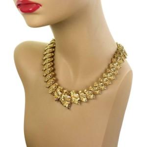 Judith Leiber 1.30ct Diamond 18k Yellow Gold All Around Fish Link Necklace