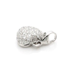 Cartier Pave Diamond 18k White Gold Heart Charm Pendant w/Paper