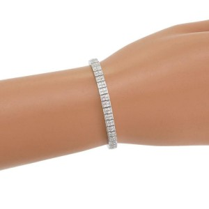 H. Stern 7.10ct Princess Cut Diamond 18k White Gold 5mm Tennis Bracelet