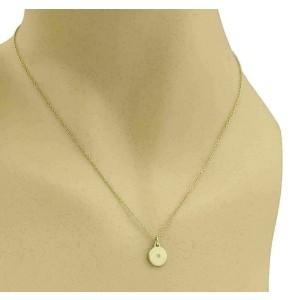 LS Lizzie Diamond Dot Disc 14k Yellow Gold Pendant & Chain