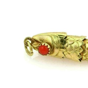 Estate Articulated Movable Fish Charm With Coral Cabochon Eyes
