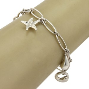 Tiffany & Co. Peretti Sterling Silver 5 Charms Oval Chain Bracelet
