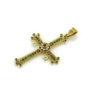 Diamond Multicolor Gems 18k Yellow Gold Cross Pendant