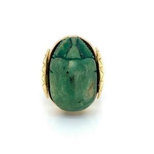 Vintage Jade Scarab Beetle 14k Yellow Gold Ring