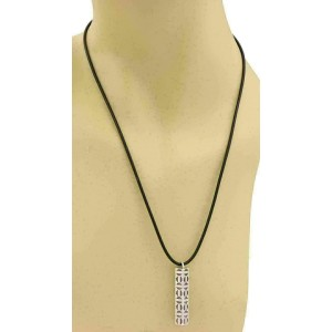 Tiffany & Co. Picasso Sterling Octagon Long Post Pendant Cord Necklace