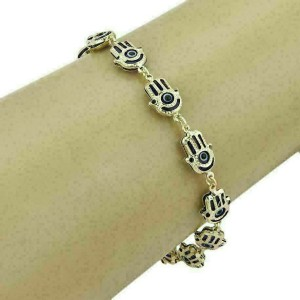 Good Luck Hamsa Hand Blue Enamel Multi Link Bracelet in 14k Yellow Gold