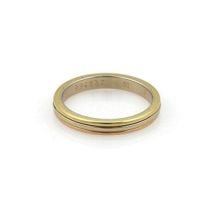 Cartier 18k Tricolor Gold 3mm Triple Wire Band Ring Size 51