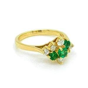 Tiffany & Co. Diamond Emerald 18k Yellow Gold Cocktail Ring