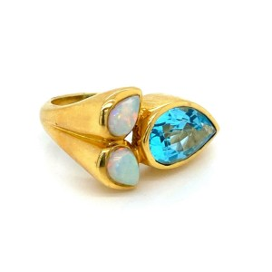 Blue Topaz & Fire Opal 18k Yellow Gold Floral Ring