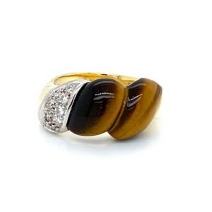 Diamond Tiger's Eye 14k Two Tone Gold  Fancy Band Ring