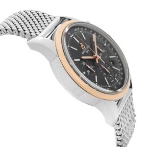 Breitling Transocean 18k Rose Gold Steel Black Dial Mens Watch UB015212/BC74-154
