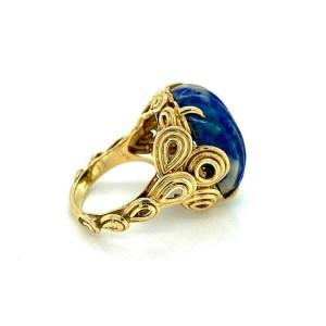 Lapis Fancy Loop Design 14k Yellow Gold Ring