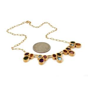 Multi-Color Gemstone Drape 18k Yellow Gold Necklace