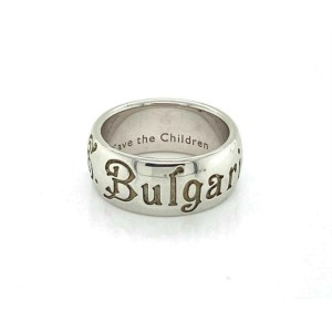 Bvlgari Save The Children Sterling Silver 8mm Wide DomeBand Ring Size 51