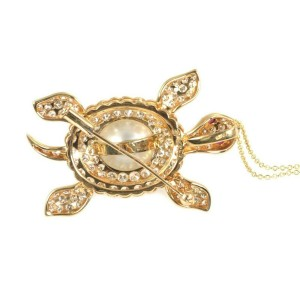 Turtle 3.00ct Diamond Pearl Ruby 18k Yellow Gold Pin/Pendant & Chain