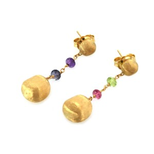 Marco Bicego Africa 18k Yellow Gold & Gems Bead Dangle Earrings