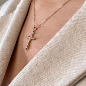 Rachel Koen 18K Rose Gold Diamond Ladies Cross Pendant Necklace 0.38cttw