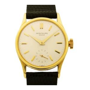 Patek Philippe Calatrava 18K Yellow Gold Manual Wind Mens Vintage Watch 96J
