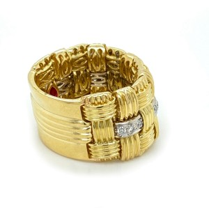 Roberto Coin Appassionata Diamond 18k Gold Triple Row Flex Band Ring