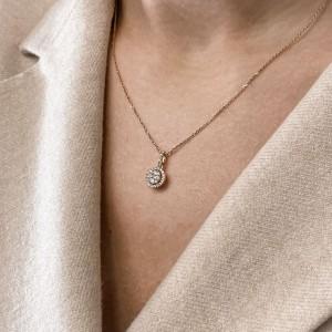 Rachel Koen 18k Rose Gold Halo Diamond Pendant 0.39cttw
