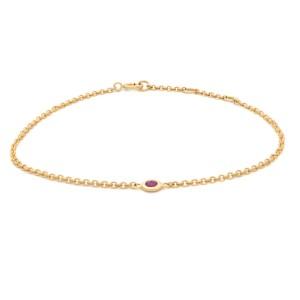 Rachel Koen 14k Yellow Gold Single Bezel Pink Ruby Ladies Bracelet