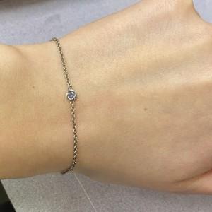 Rachel Koen 14k Yellow Gold Single Bezel Aquamarine Ladies Bracelet