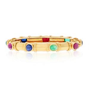 David Webb 18k Yellow Gold Multi Color Gemstone Ladies Bracelet