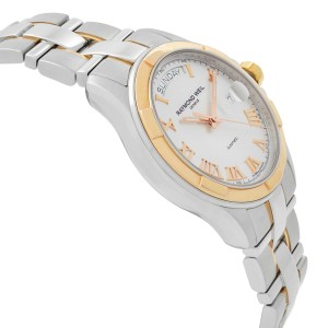 Raymond Weil Parsifal Day-Date Gold PVD Steel Silver Dial Watch 2965-SG5-00658