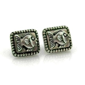 Kiesestein-Cord Sterling Silver Fish Rectangular Shape Clip On Earrings