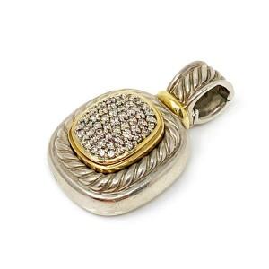 David Yurman Albion Pave Diamond Sterling Silver & 18k Gold Cable Pendant