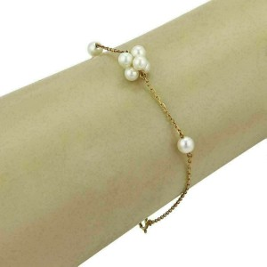 Mikimoto Akoya Pearls 18k Yellow Gold Cluster Charm Chain Bracelet