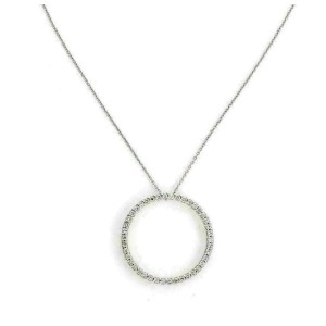 Roberto Coin Diamond 18k White Gold Circle of Life Round Pendant Necklace