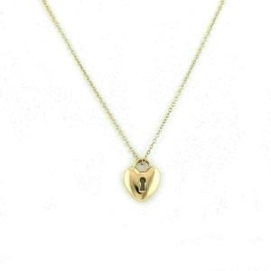 Tiffany & Co. 18k Yellow Gold Heart Padlock Pendant Necklace