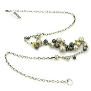 Gurhan White & Dark Sterling 24k Gold Assorted Size Ball Necklace