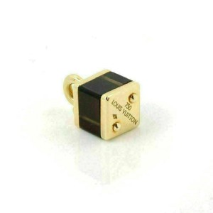 Louis Vuitton Brown Cube Bag 18k Yellow Gold Charm Pendant