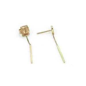 Gucci Logo 18k Pink Gold Double Long Bar Dangle Earrings