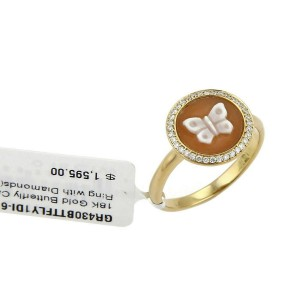 Ippolita Diamond Butterfly Cameo 18k Yellow Gold Round Ring